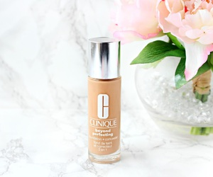Foundation, makeup, and pink flowers image