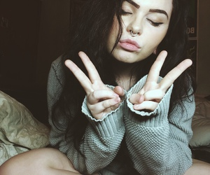girl, nose, and Piercings image