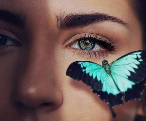 butterfly, girl, and blue image