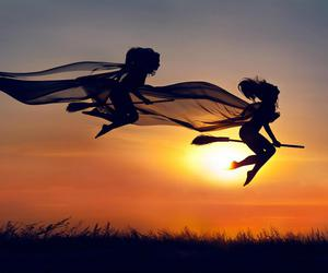 witch, sunset, and Halloween image
