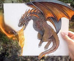 dragon, fire, and art image