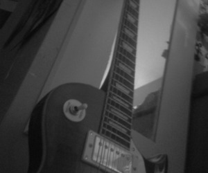 black and white, guitar, and mirror image