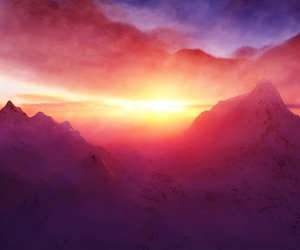 mountains, sunset, and sun image