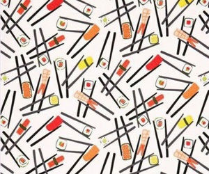 food, sushi, and pattern image