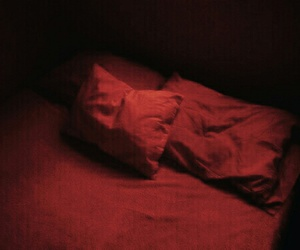 red, aesthetic, and bed image