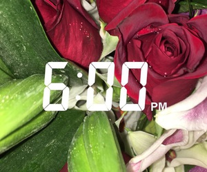 clock, flowers, and red image