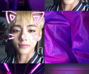 kpop, pink and purple, and v image