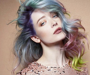 colorful hair, curly hair, and hair image