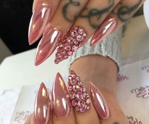 acrylics, nails, and pink nails image