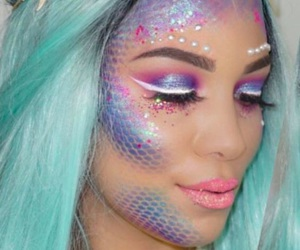 mermaid, Halloween, and makeup image