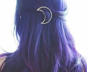 hair, purple, and moon image
