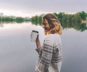 coffee, lake, and cup image