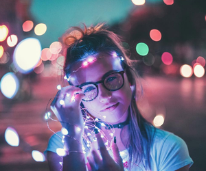 girl, lights, and cute image