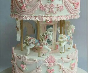 pink, cake, and carousel image
