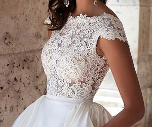 dress, beautiful, and bride image