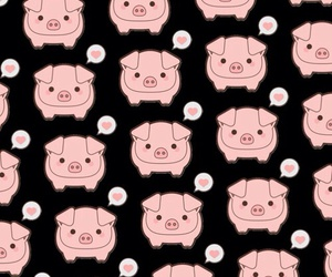 pink, pig, and background image