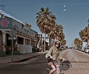 beach, bicycle, and girl image