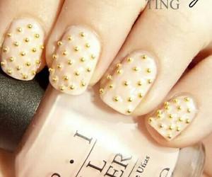 nails, gold, and nail art image