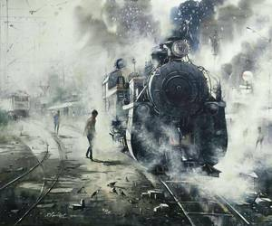 art, painting, and train image