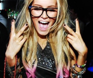 coloured hair, girl, and glasses image