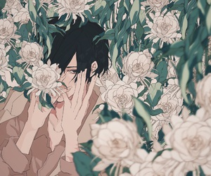 aesthetic, boy, and flowers image