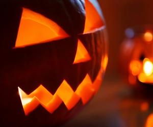 Halloween, pumpkin, and leaves image