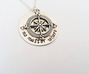 etsy, compass necklace, and handmade necklace image