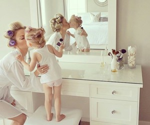 mother, kiss, and daughter image