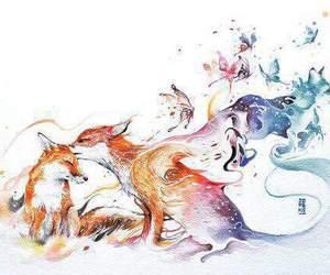 fox, art, and drawing image