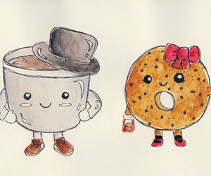 donuts, coffee, and drawing image