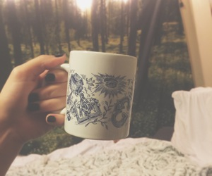 coffee, lights, and white bed image