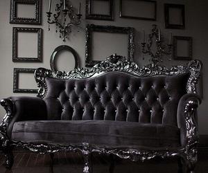 sofa, dark, and goth image