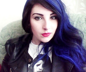 blue hair, red lipstick, and spray can image