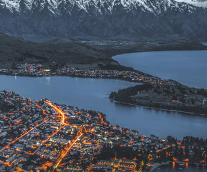 city, mountains, and light image