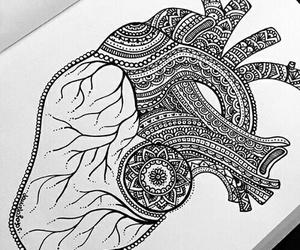 zentangle, art, and heart image