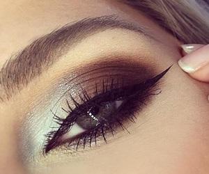makeup, eye-liner, and blue eyes image