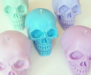 skull, candle, and pastel image