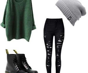 beanie, dr martens, and green image