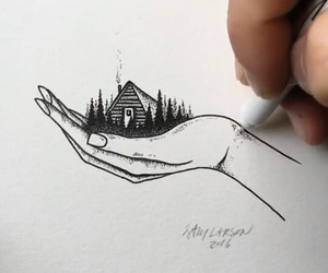 black, drawing, and house image