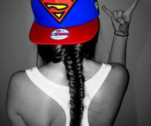 girl, hat, and supermen image