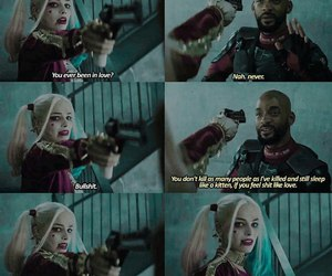 harley quinn, will smith, and margot robbie image