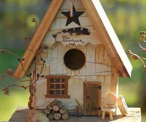 bird house, rustic, and chair image