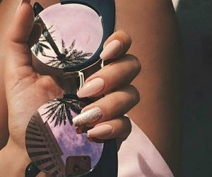 nails, sunglasses, and summer image