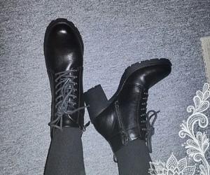 ankle boots, black, and leather image