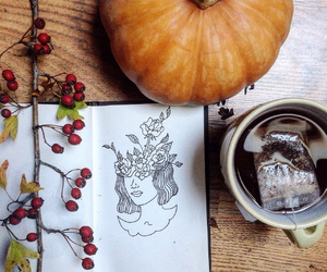 autumn, cup of tea, and drawing image