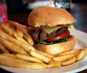 burger, French Fries, and food image