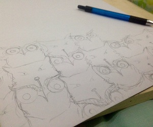 art, owl, and pencil image