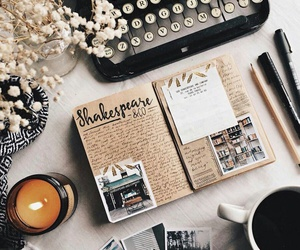 coffee, candle, and book image