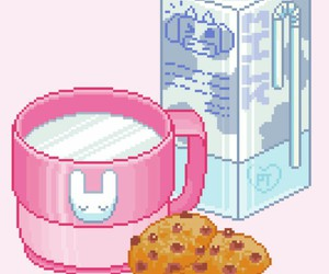 pixel, milk, and Cookies image