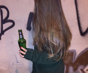 bottle, hair, and drink image